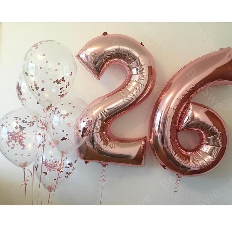 Воздушный шар из фольги под розовое золото, 7 шт./лот, большой размер 32 дюйма, 26 цифр, с конфетти, украшение для дня рождения взрослых, товары для гелия на годовщину Воздушные шары и аксессуары      АлиЭкспресс
