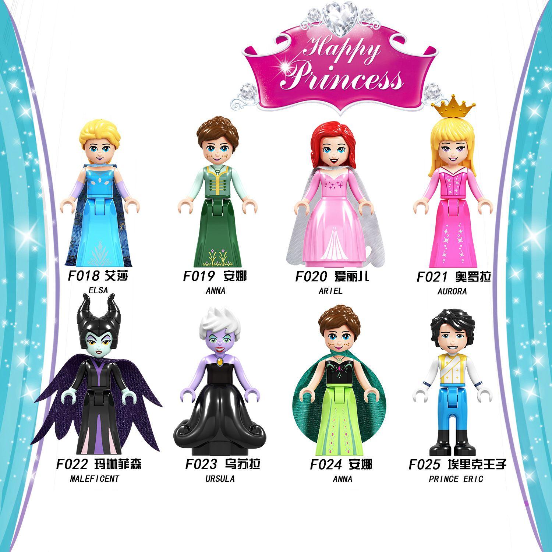 Friends for Girls Princess Elsa Building Blocks Dolls Toys for Children Figurine Cinderella Mermaid Bricks Kids Gift Accessories