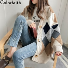 Colorfaith 여성용 스웨터 가을 겨울 2019 유행 캐주얼 체크 무늬 v 넥 가디건 싱글 브레스트 퍼프 슬리브 sw658