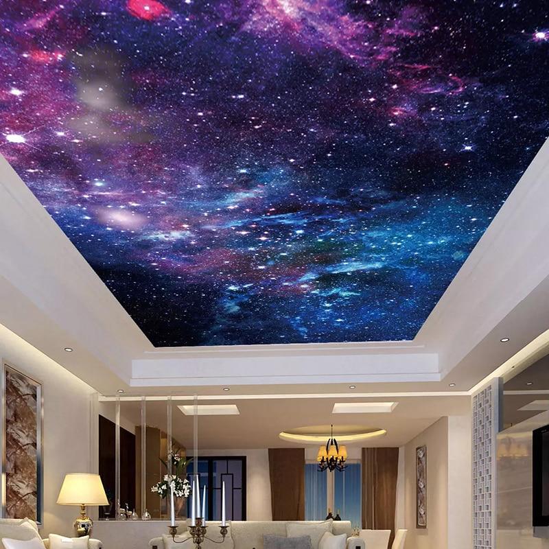 Papel tapiz personalizado, pegatinas de techo, Mural 3D, bonito cielo estrellado, sala...