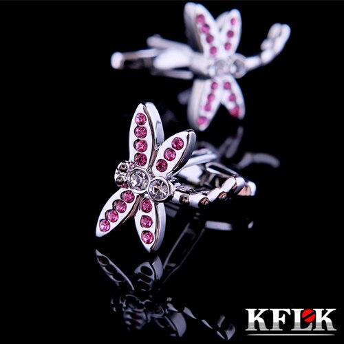 KFLK Luxury shirt cufflink for women Brand cuff buttons Pink Crystal Dragonfly cuff link High Quality abotoaduras Jewelry