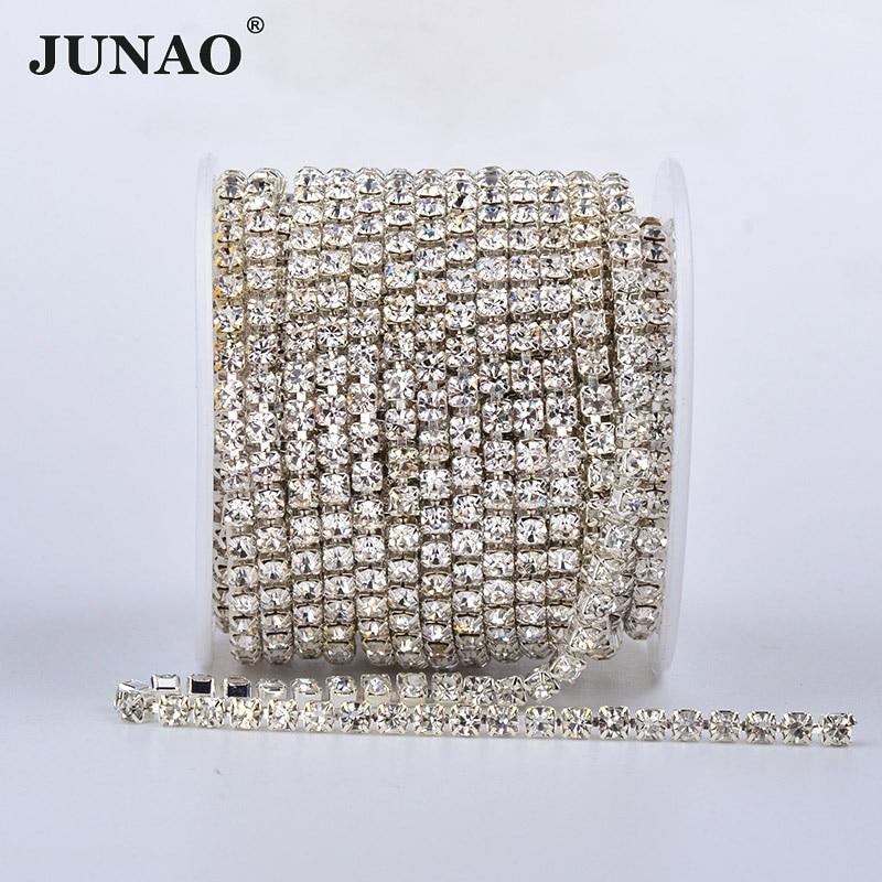 JUNAO alta calidad SS6 8 10 12 16 18 plata oro Base cristal Rhinestone denso cadena cristal transparente apliques tipo tira bandas de diamantes de fantasía