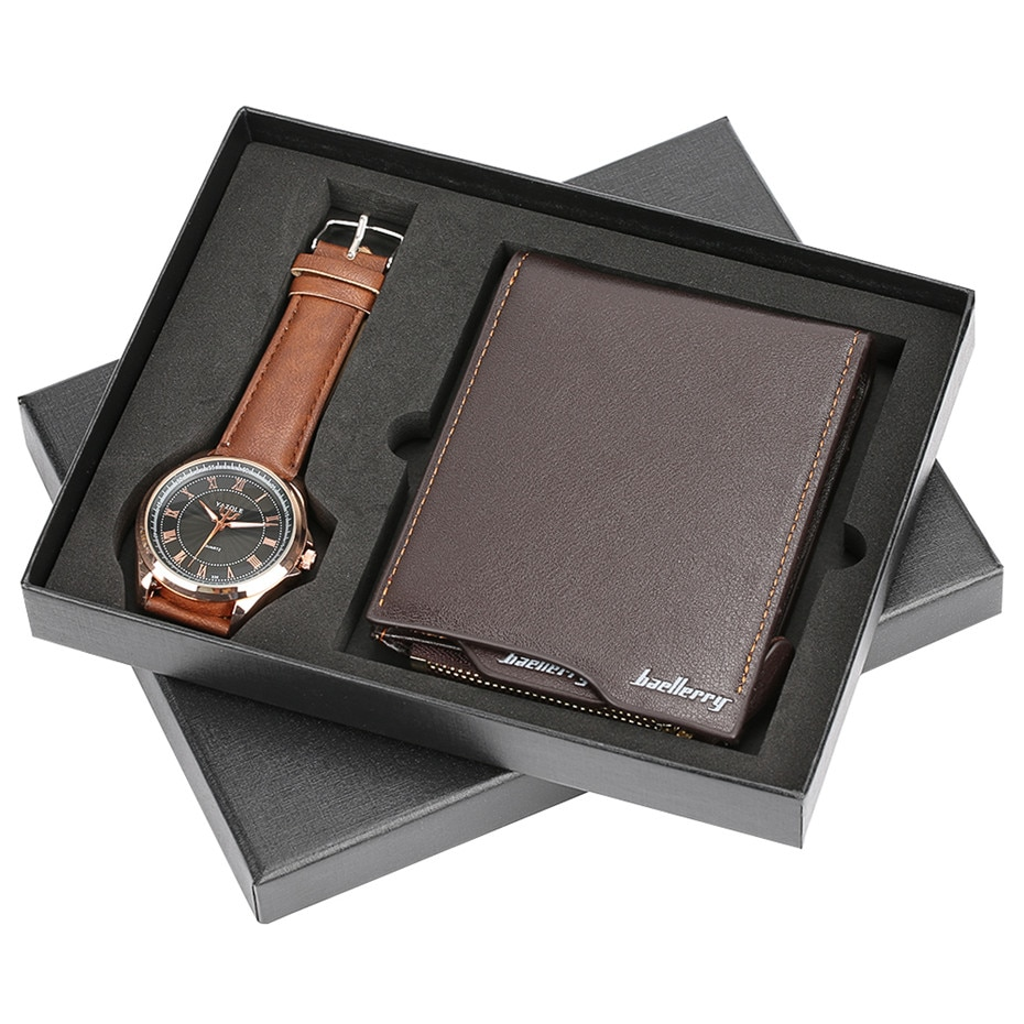 Top moda portfele dla mężczyzn z Zip monety kieszonkowy portfel ID posiadacza karty kiesy sprzęgła z zegarek męski luksusowe Xmas prezenty zestawy pudełko