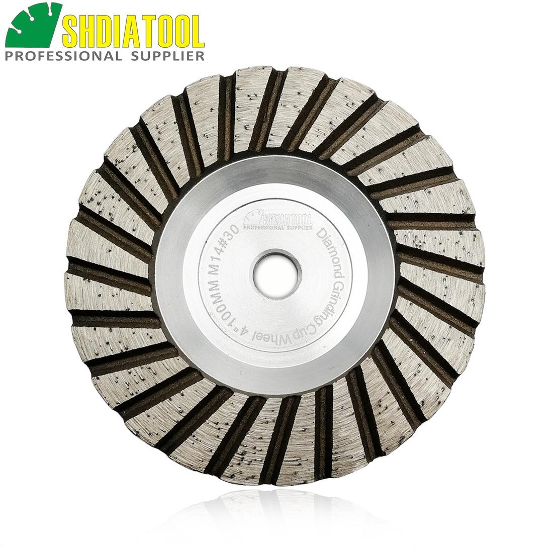 "Shdiatool 1pc m14 diâmetro 4 ""/100mm diamante moagem copo roda de alumínio baseado disco moagem granito mármore"