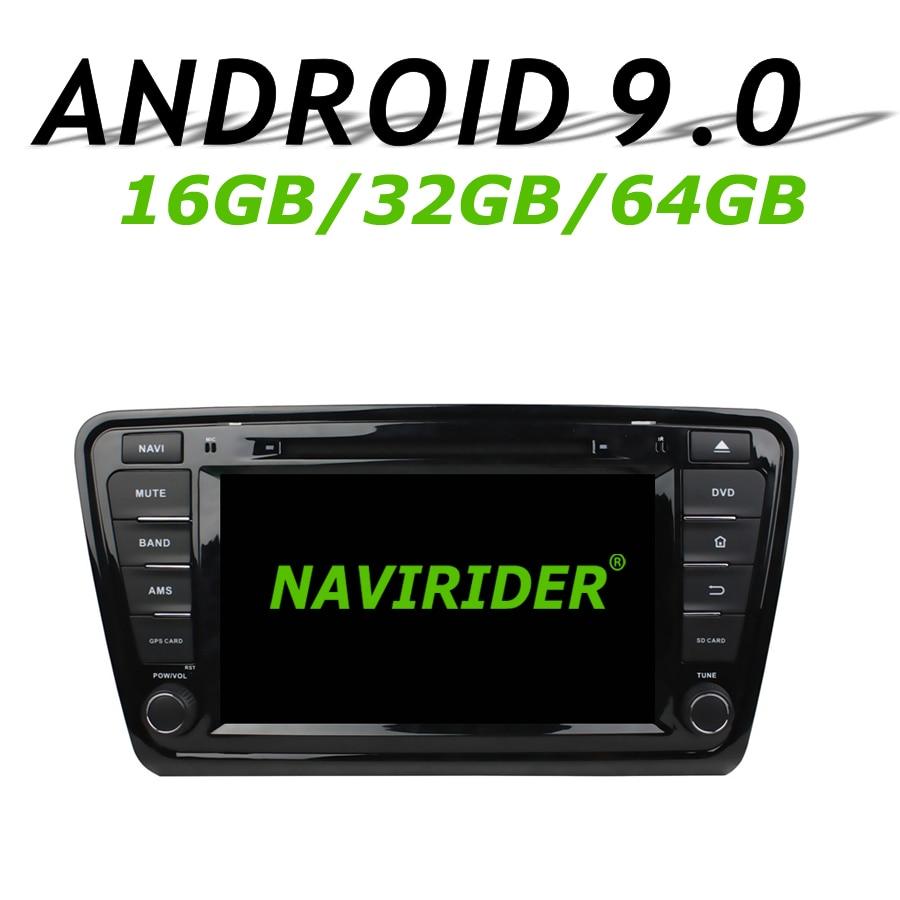 Navirider navegação gps para skoda octavia iii 2014 2015 tela de toque dvd carro android 9.0 64gb rom rádio jogador bluetooth estéreo