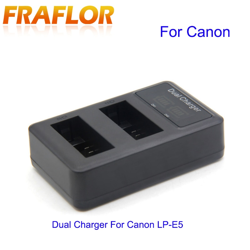 LCD Screen Dual USB Charger For Canon LP-E5 EOS Rebel XSi 450D 500D 1000D SZ20 SZ10 XZ1 SZ30 TG805 U9000 Digital Camera Battery