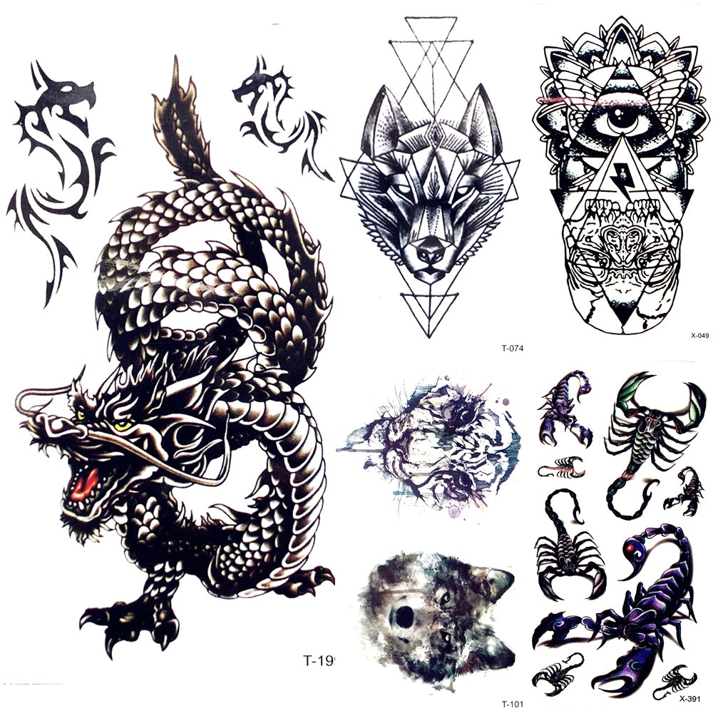 Calcomanías tatuaje temporal dragón negro chino hombres arte del brazo del cuerpo pintura falso tatuaje nube bosque Tatto Tribal niños manos pecho