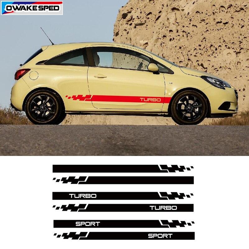 Decoración de carrocería de coche Turbo Sport Stripes, pegatina de vinilo para Opel Corsa, 3-5 puertas, pegatina de falda lateral, accesorios de coche de estilo de carreras