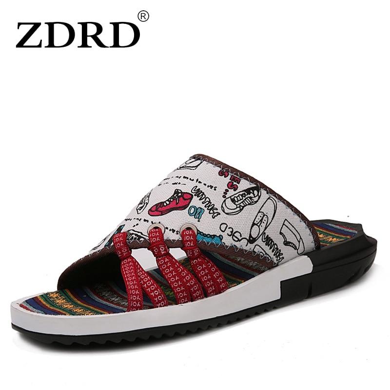 ZDRD Hot Nuovi Uomini di Modo del progettista di camouflage Spiaggia Pantofola sandali di Alta Qualità Degli Uomini di Estate Traspirante maschio rcroc scarpe slides