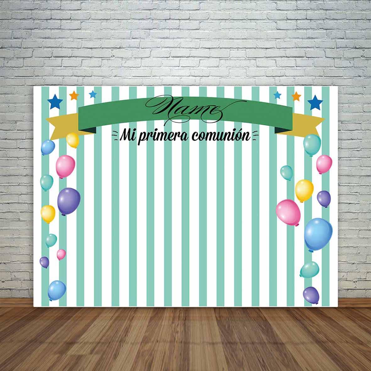 Mehofoto pano de fundo fotográfico personalizado colorido balões listras verdes fita comunhão celebração câmera photocall fundo