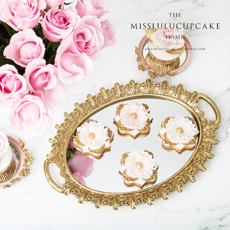 Mirror Vanity Tray Perfume Cologne Holder Dresser Organizer gold