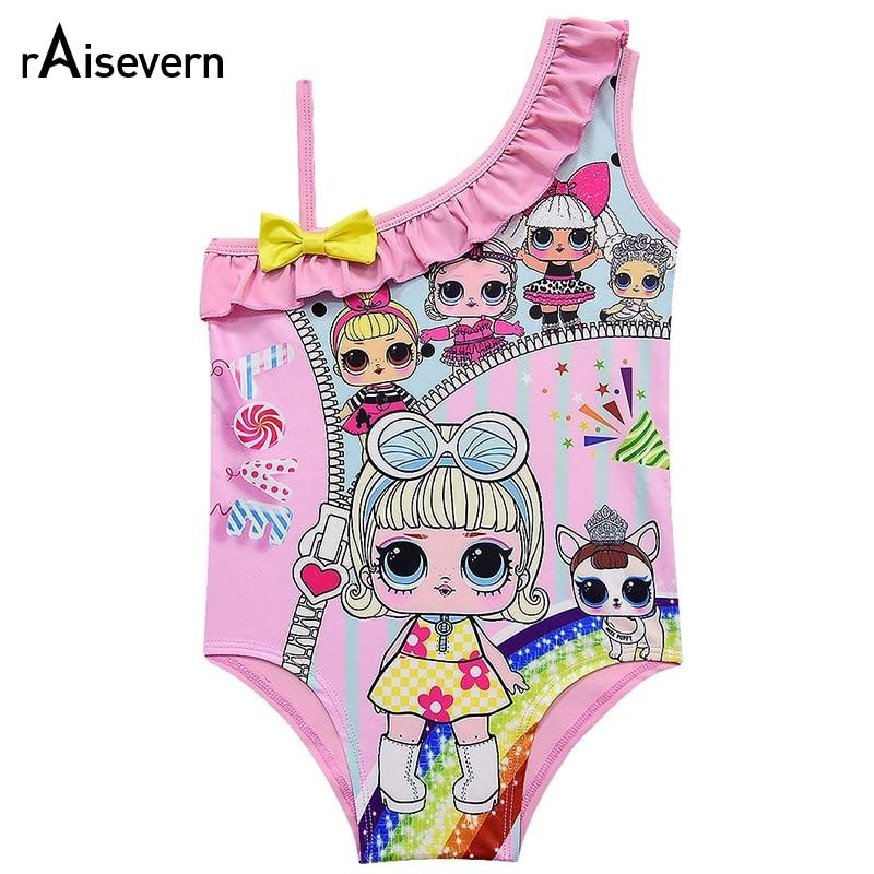 Cute Candy Love Print Girl Swimsuit Kids Lovely 3-10Y Girls Colorful Dolls Cartoon Swimwear Baby Beachwear Bathing Suit Dropship