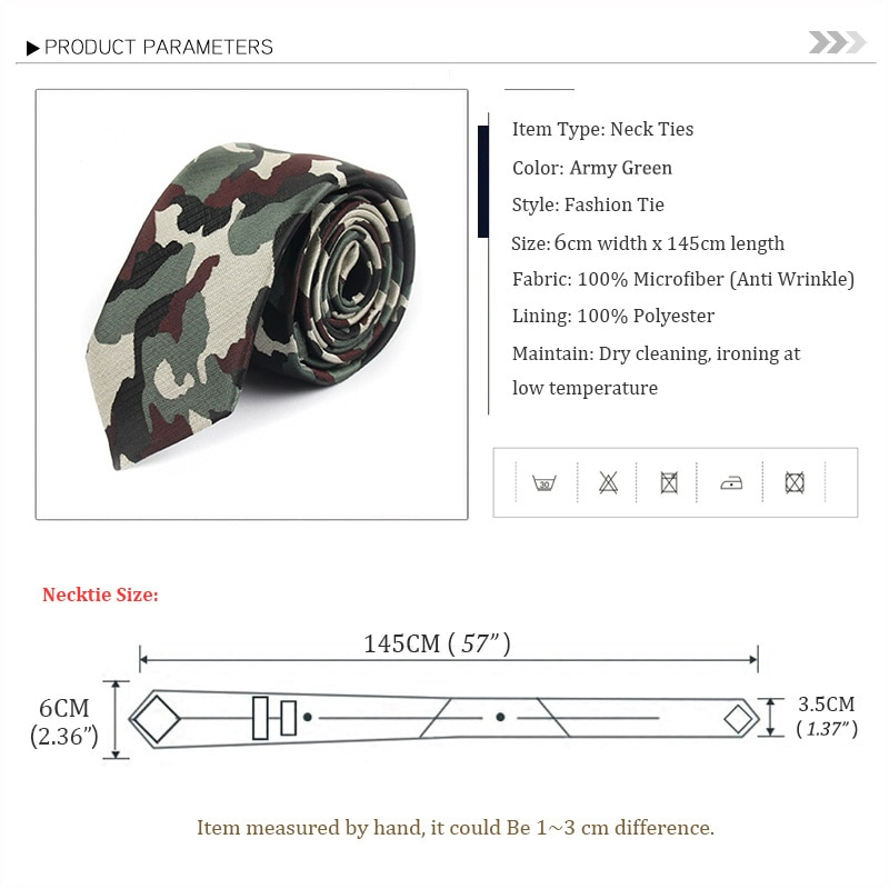 2019 High Quality Men's Brand New Fashion 6CM Slim Camo Ties for Men Grey Black Yellow Green Camouflage print with Gift Box