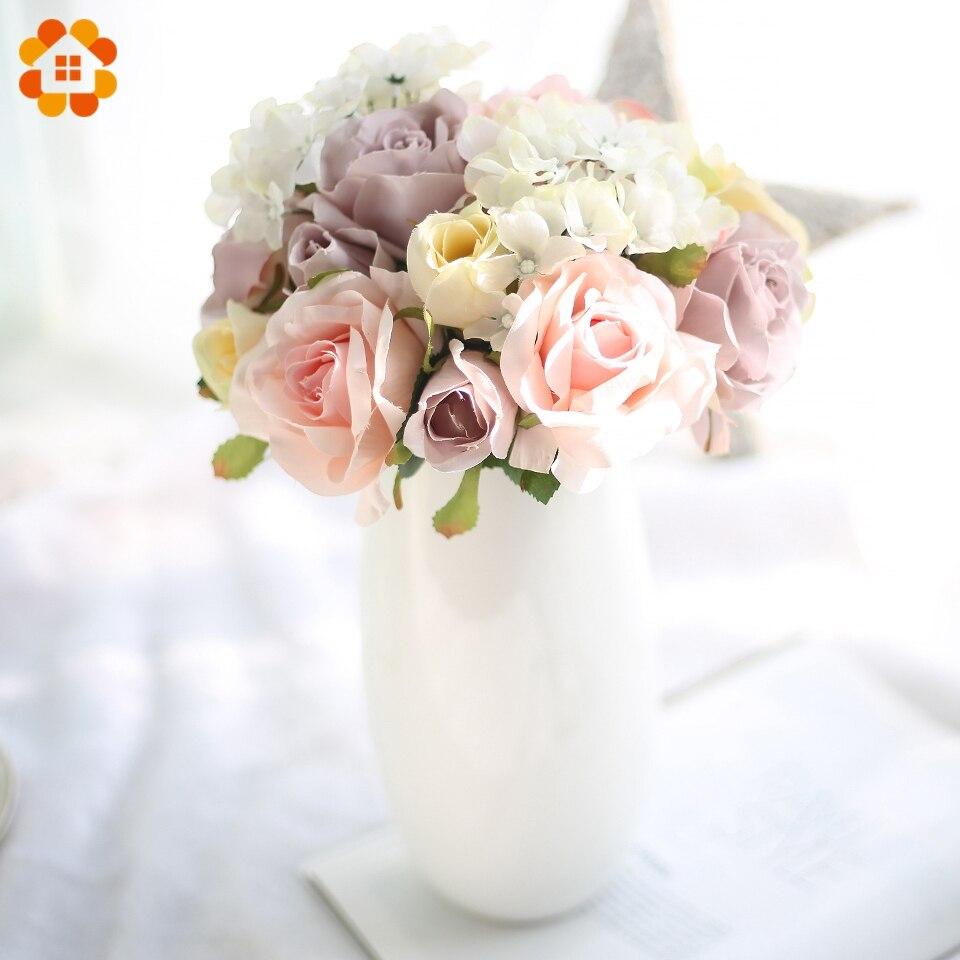 1 ramo rosa con flores artificiales Hortensia seda europea ramo de flores color rosa para DIY jarrón para el hogar Decoración flores de boda