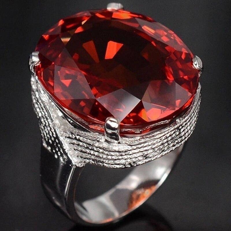 Лидер продаж, Трендовое кольцо в форме большого яйца, открытые манжеты, ручные Кольца Красного цвета, Ювелирное кольцо на палец
