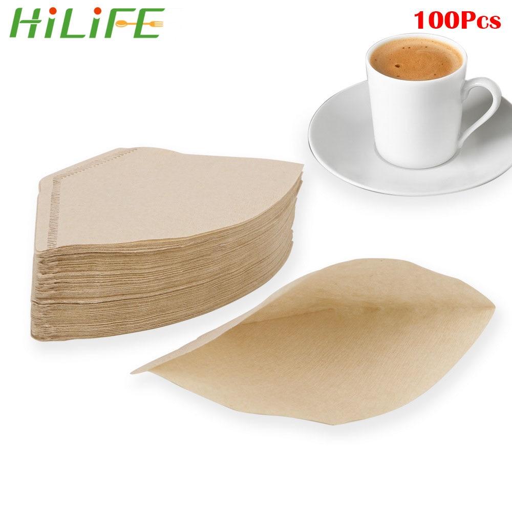 HILIFE, papel de goteo manual, filtro de café, Infusor de té verde, paquetes de filtro de café Espresso, 100 unids/bolsa, Bolsa de colador de té Original de madera