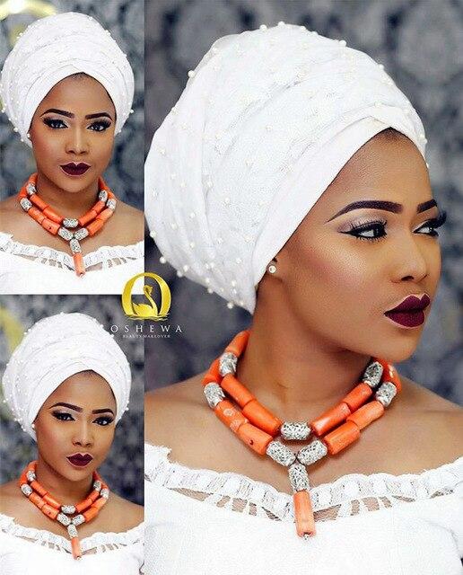 Mode femmes corail perles africaines collier bijoux ensembles nigérian fête de mariage bijoux fantaisie ensemble CG001