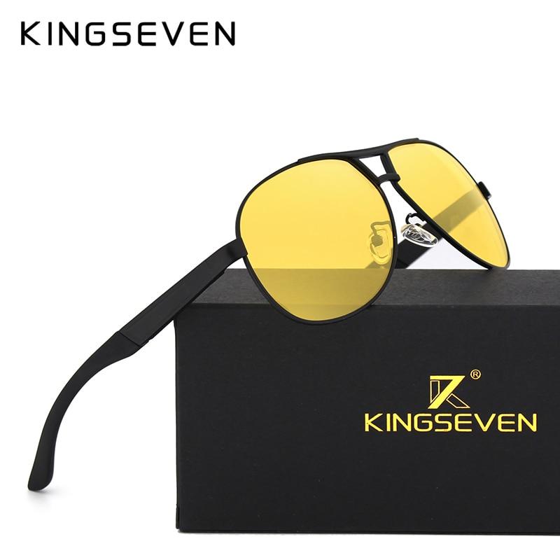 KINGSEVEN 2017 Sunglasses Night Vision Goggles Yellow Lens Men  Brand Sunglasses Women Sun Glasses