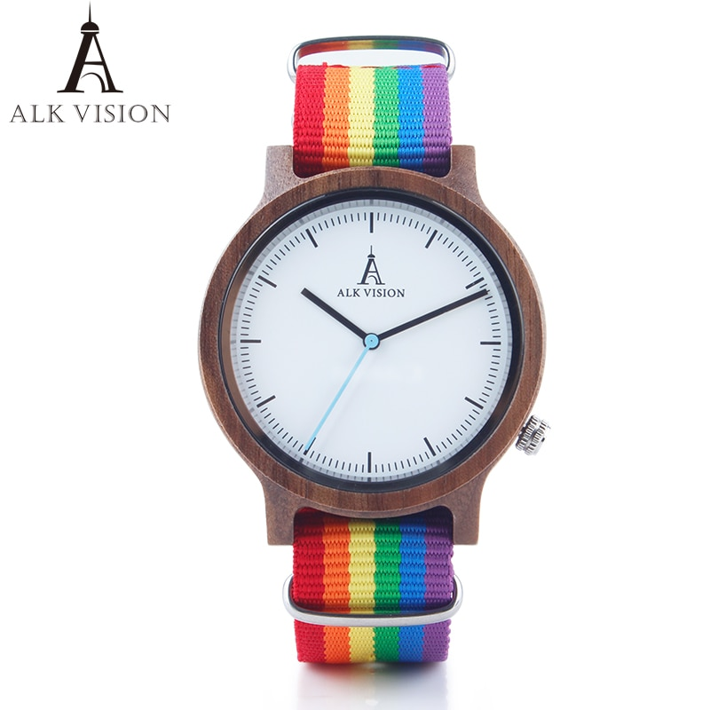 ALK Vision Pride Rainbow Top Wood Watches Dropshipping Brand Women Mens Wooden Watch Canvas LGBT Strap Fashion Casual Wristwatch fashion eco friendly red sandal wood health watches uwood brand wooden watch japan quartz wristwatch for mens women lover best g