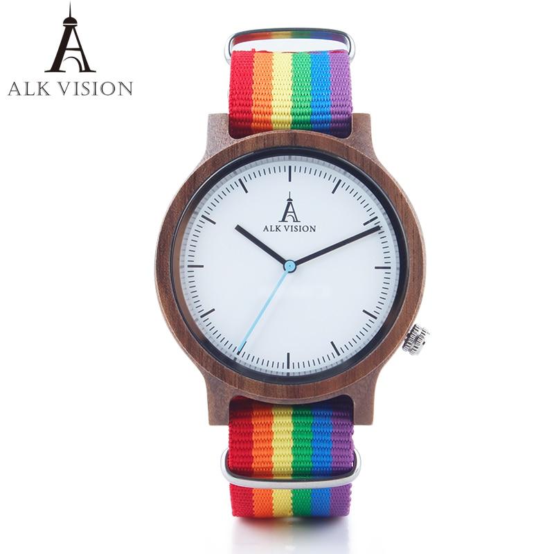 ALK Vision-ساعة خشبية للرجال والنساء ، ساعة يد قماشية غير رسمية ، سوار LGBT