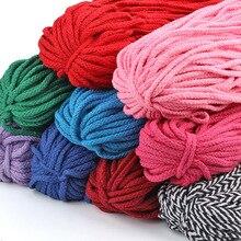 Corde à cordon torsadé décorative   Corde colorée épaisse de 5mm pur blanc rouge rose vert noir, Corde en tricot pour décor de Coton 5Yard/Lot