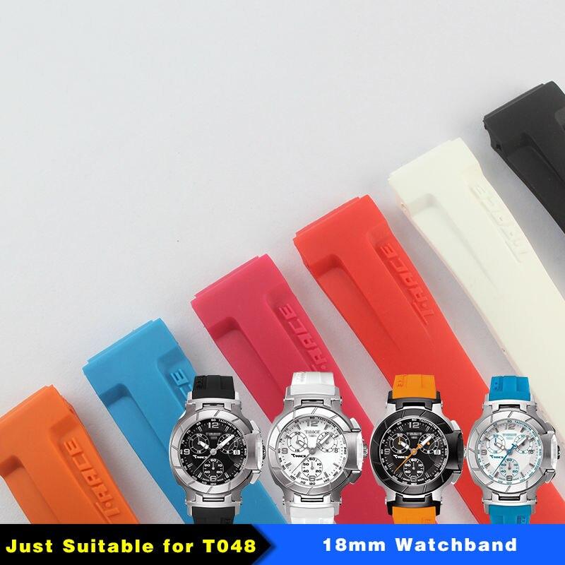 Feminino t048217a pulseira de borracha 18 mm (buckle16mm) T-RRCE expert pulseira de borracha de silicone preto t048217 pulseira de relógio para t048 mulher