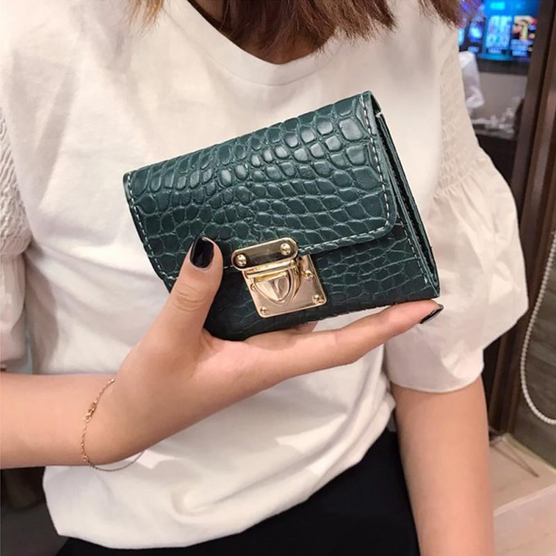 Fashion Women Elegant Purse Short Wallet Clutch PU Card Holder Carteira Feminina Retro Wallet 3 Folds Lady Mini Size Wallet ~
