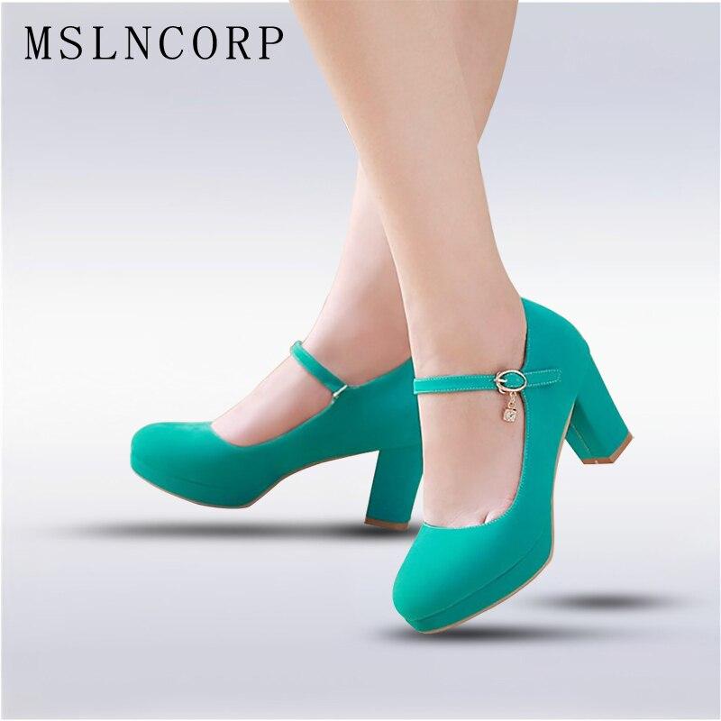 زائد حجم 34-43 أزياء النساء أحذية ماري جين السيدات عالية الكعب حزب أحذية الزفاف كعب سميك مضخات سيدة الأحذية حذاء كاجوال
