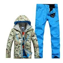 GSOU SNOW ski suits for men camouflage snowboard jackets pant men winter mountain skiing suits veste ski wear men