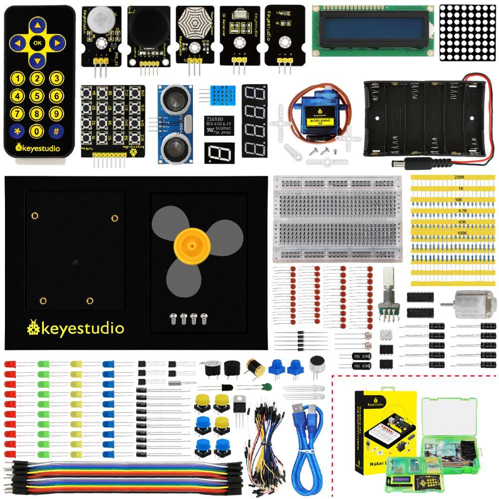 Kit de aprendizaje KeyStudio Maker/Kit de inicio (NO tablero UNOR3) para iniciador Arduino con caja de regalo + Plataforma UNO + 1602 LCD + Servo + LEDs + PDF