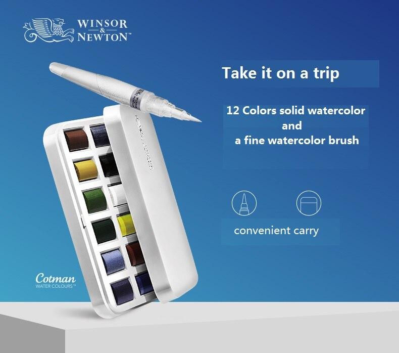 Winsor & newton cotman pintura em aquarela sólida portátil 12 cores + pincel conjunto pigmento arte suprimentos