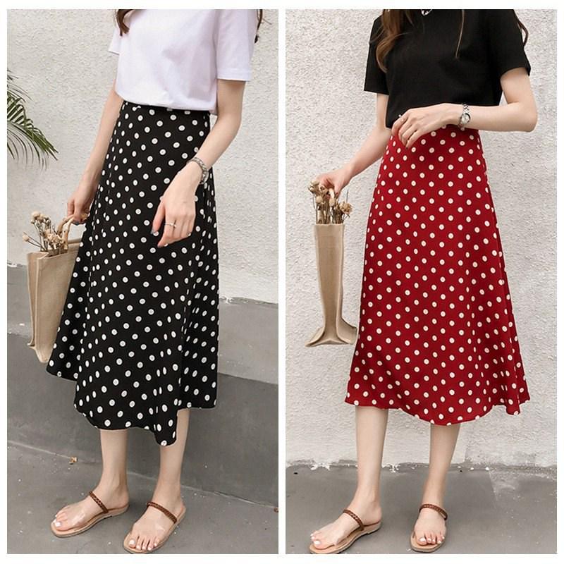 Women Vintage Polka Dot Skirts Chiffon Elastic High Waist Solid Color Wild A-Line Long Paragraph Skirt Clothing