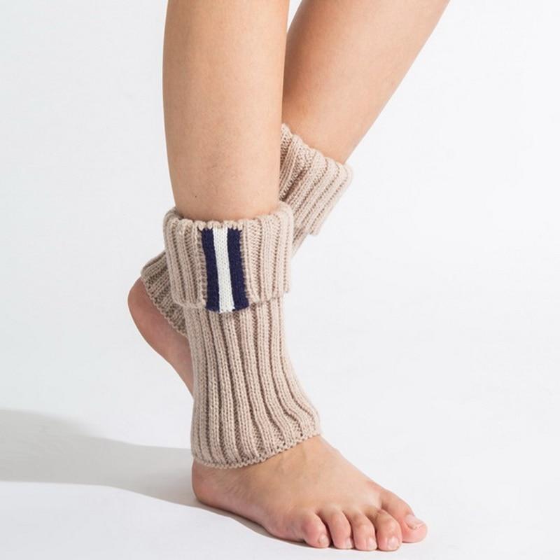 1 paar Gestreiften Frauen Winter Ankle Boot Manschetten Kurzen Gestrickte Stulpen Stiefel Socken 3 Farbe gamaschen calentadores piernas mujer