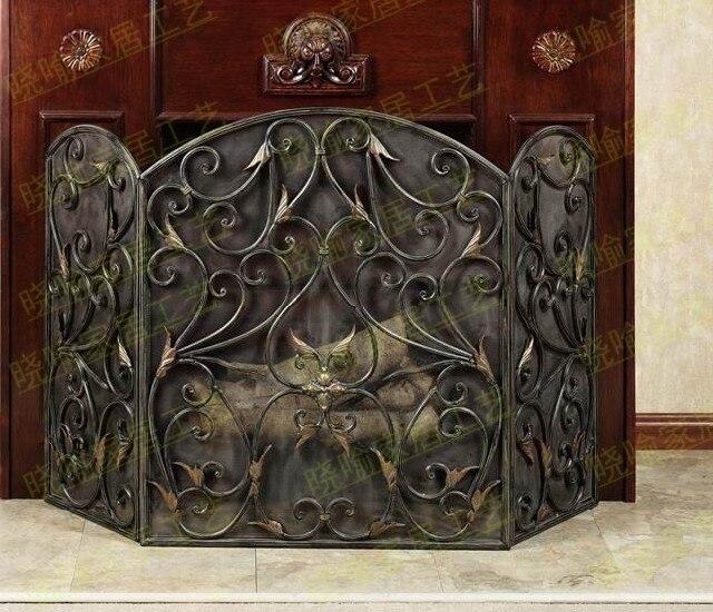 Repisa de suelo de hierro forjado, chimenea de modelado de hojas, alforja envolvente