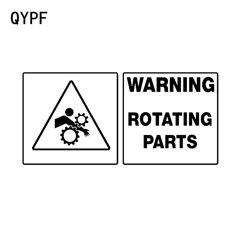 QYPF 18CM*8.5CM Warning Mark Careful ROTATING PARTS Graphic Car Sticker Black/Silver Vinyl Decoratio