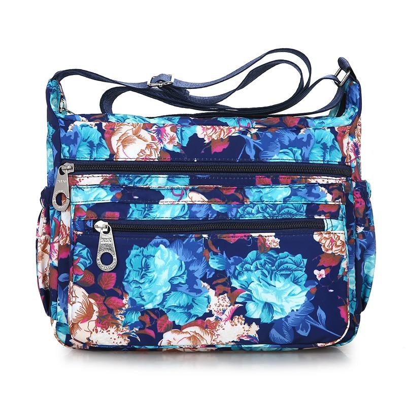 Women Solid Color Zipper Waterproof Nylon Shoulder Bag Floral Crossbody Bag Bolsa feminina Dropship New 2019 Hot Selling