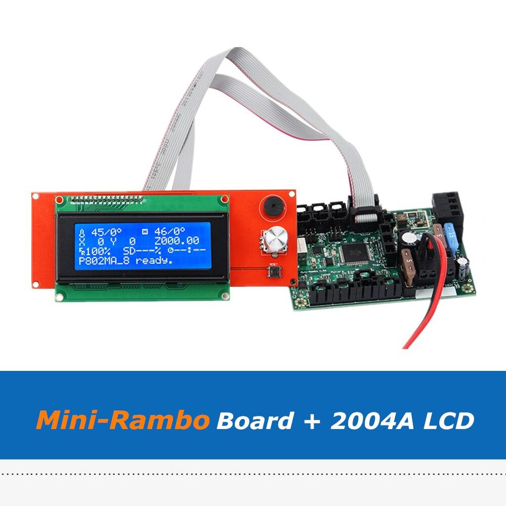 Reprap Prusa i3 Ramps1.4 2004A pantalla LCD + mini-rambo 1.3A conjunto de placa base para Prusa i3 MK2 impresora 3D