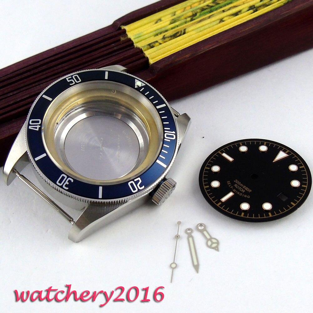 41mm cristal zafiro fecha ajuste luminoso 8205 8215 821A 2836 miyota 82 movimiento reloj caja + dial + manos