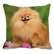 XUNYU-housse de coussin carrée de canapé   En lin imprimé pomeranien, housse de coussin à motif danimal et de chien AC105