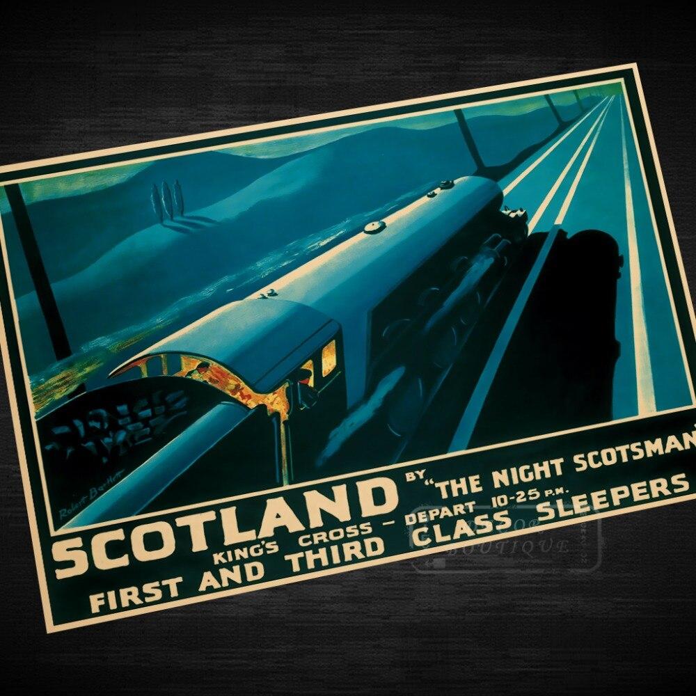 Британский железнодорожный поезд Шотландия Ретро винтажный крафт плакат