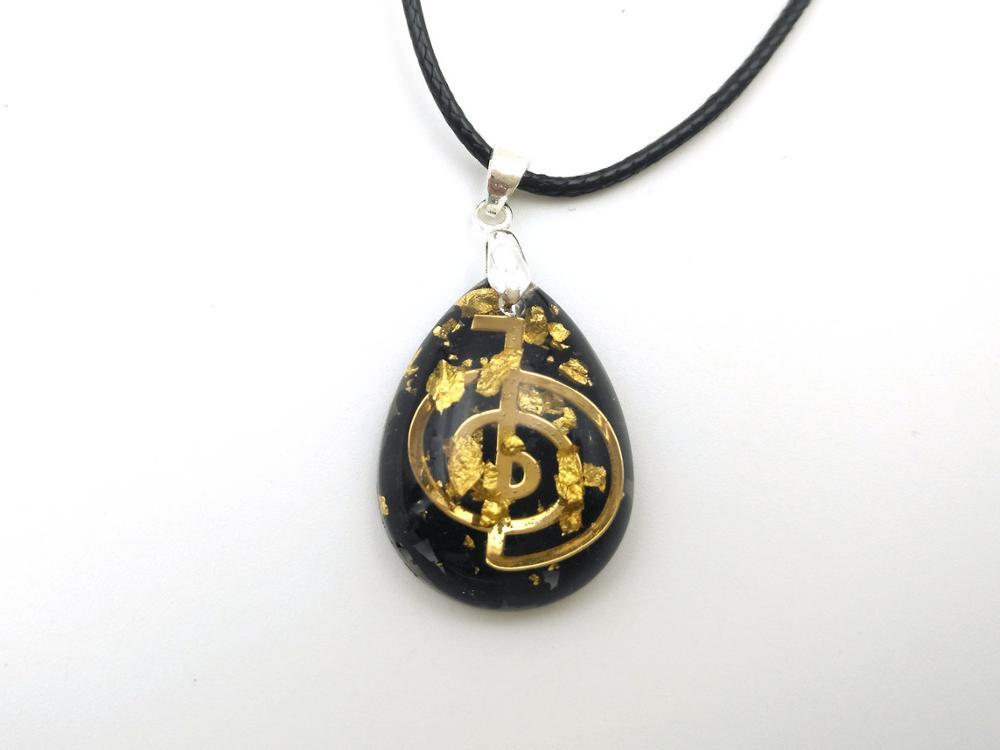 Colgante de orgonita en forma de gota de turmalina negra con símbolo Cho Ku Rei Riqueza, amor, meditación, imán de dinero, talismán