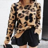 Leopard Print Cashmere Sweater Women Pullover Mohair Sweater Korean Long Sleeve Knit Pullovers O-Neck Winter Warm Jumper Tops