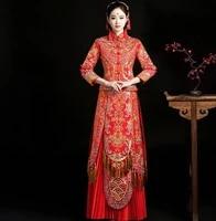 elegent fashion wedding gown new bride dress chinese cheongsam vintage dresses elegant china qipao robes oriental bride dress