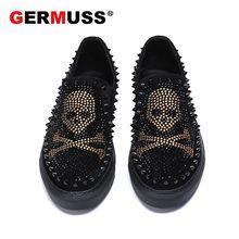 Luxury Brand skull Men loafers Diamond Rhinestones Spikes men shoes Rivets Casual Flats sneakers des