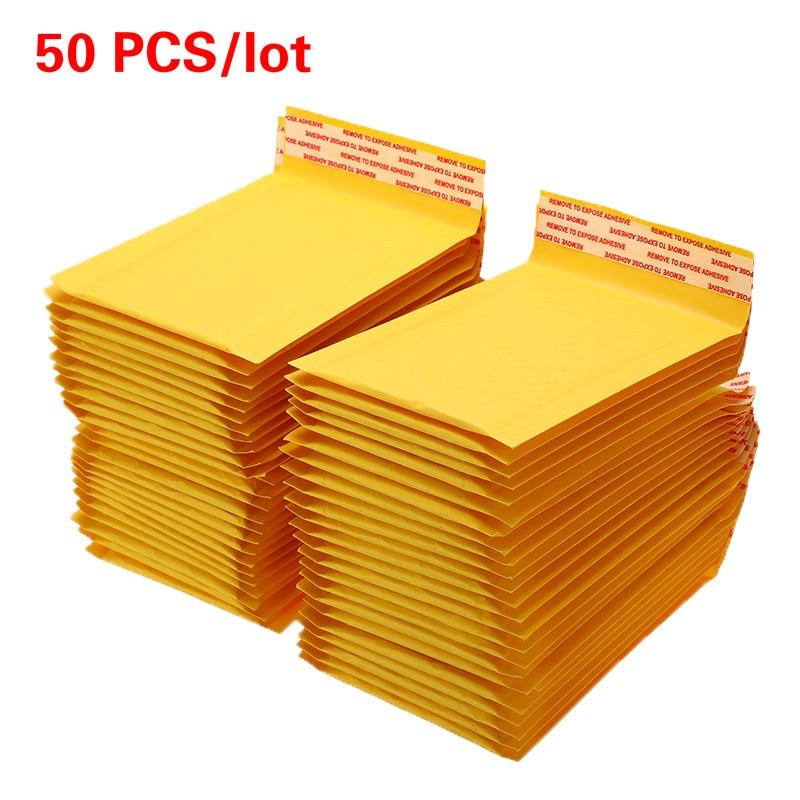 50 unids/lote papel Kraft bolsas de sobres de burbujas sobres acolchados de envío sobre con burbuja bolsa de correo de envío de la gota