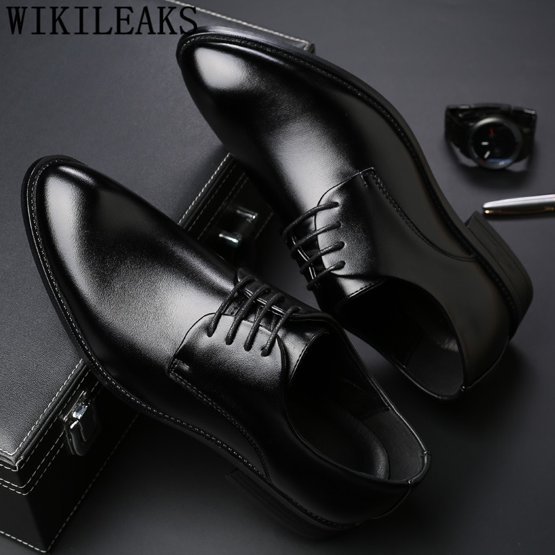 Black Men Suit Shoes Party Men's Dress Shoes Italian Leather Zapatos Hombre Formal Shoes Men Office Sapato Social Masculino
