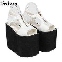 Sorbern 웨지 신발 여성 sandalias mujer 2019 여름 디자이너 브랜드 사용자 정의 색상 지퍼 크기 8 숙 녀 샌들 블랙 힐