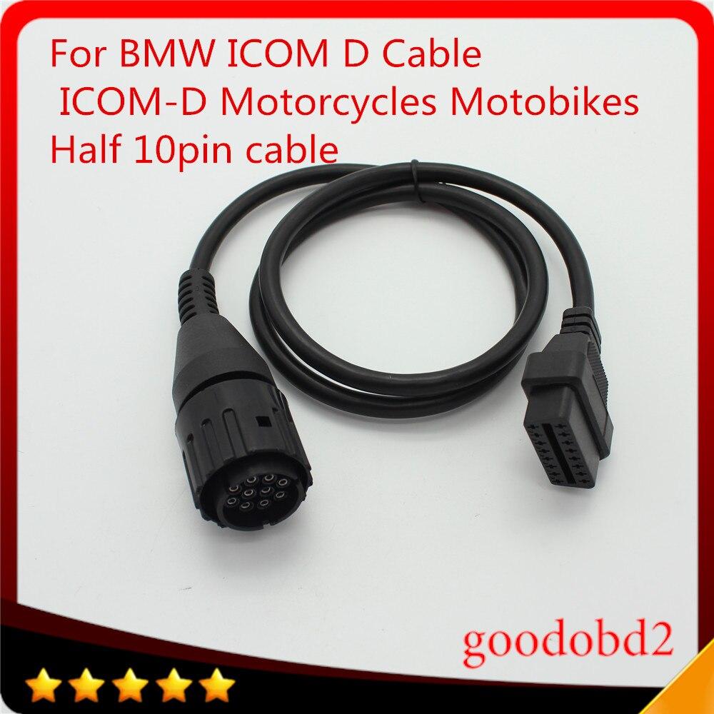 Cable de diagnóstico OBD2 para BMW ICOM D Cable para motocicletas Cable de diagnóstico de motos adaptador de 10 pines a herramienta ICOM A3 A2 de 16 pines