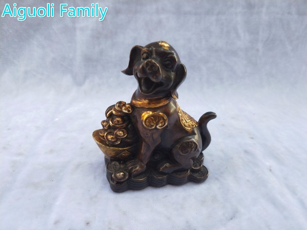 Decoración del hogar Metal artesanías escultura de animales/Colección de Arte bronce antiguo chino dorado estatua de perro