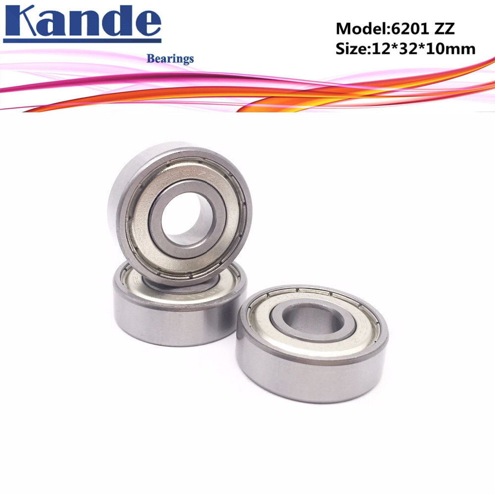 Kande 6201ZZ 10 Uds ABEC-5 6201 2Z sola fila rodamiento rígido de bolas de 12x32x10mm 6201 ZZ